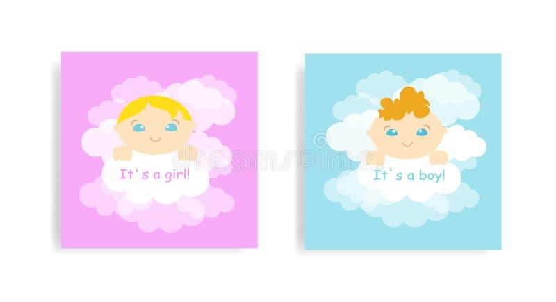 婴儿送礼会与男婴和女孩的贺卡 逗人喜爱的一点婴孩和云彩背景 r 向量例证