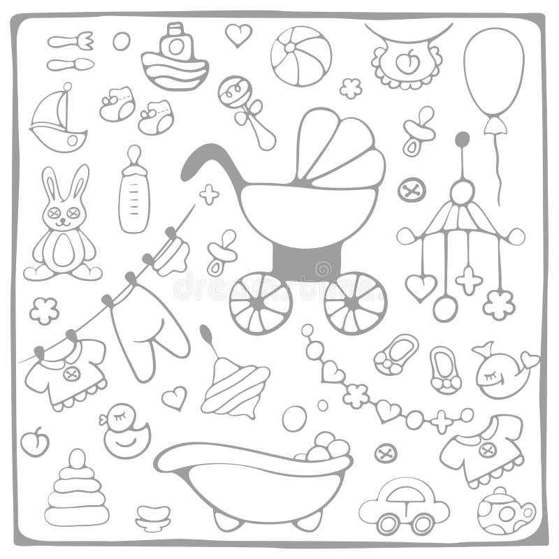 婴儿送礼会元素 库存例证