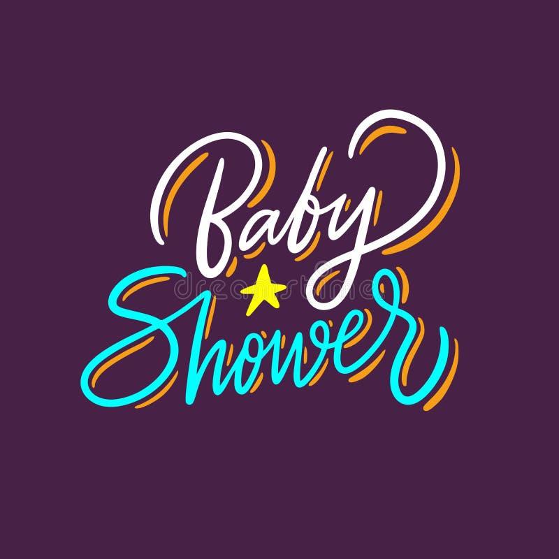 婴儿送礼会孩子词组手拉的传染媒介字法 E 皇族释放例证