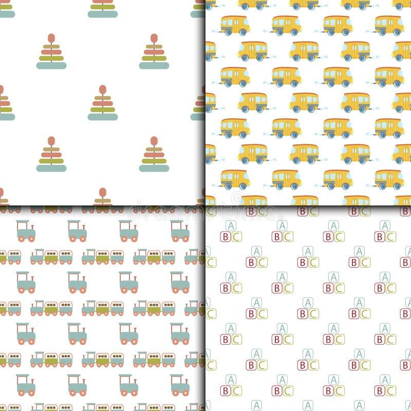 婴儿送礼会戏弄无缝的样式背景传染媒介逗人喜爱的墙纸剪贴薄新出生的纺织品纸例证 向量例证