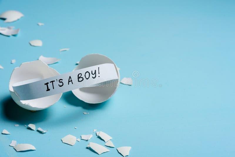 婴儿送礼会概念 男孩,蓝色 库存照片