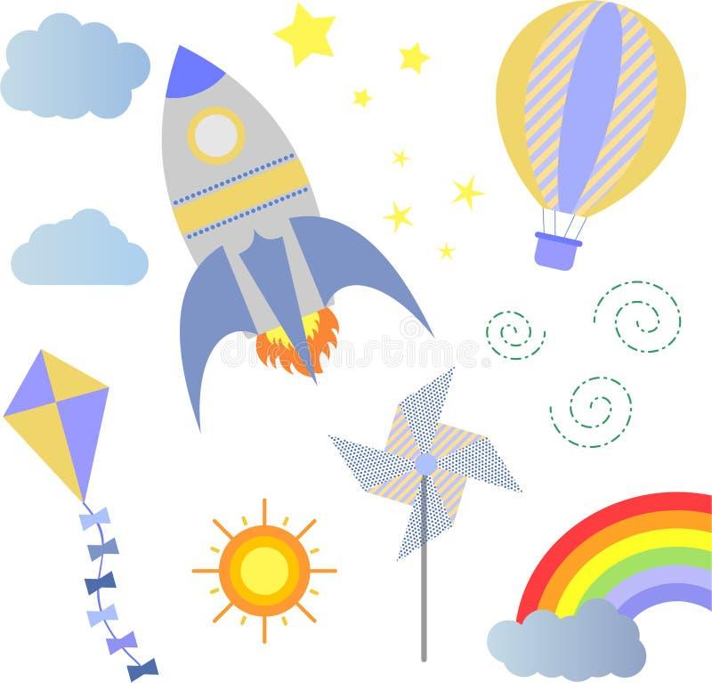 婴儿送礼会火箭气球风筝风向仪 向量例证