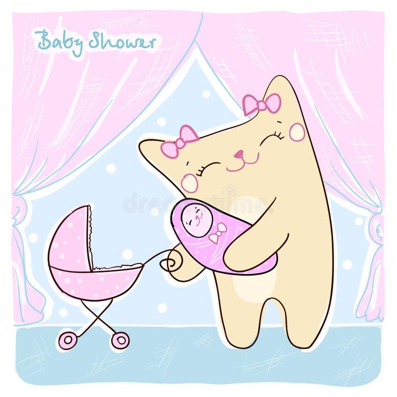 婴儿送礼会看板卡。 库存例证