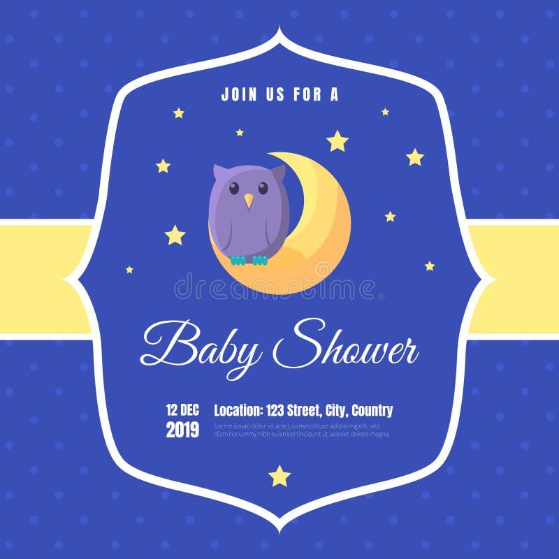 婴儿送礼会邀请模板、蓝色卡片与逗人喜爱的猫头鹰和地方您的文本传染媒介例证的 库存例证