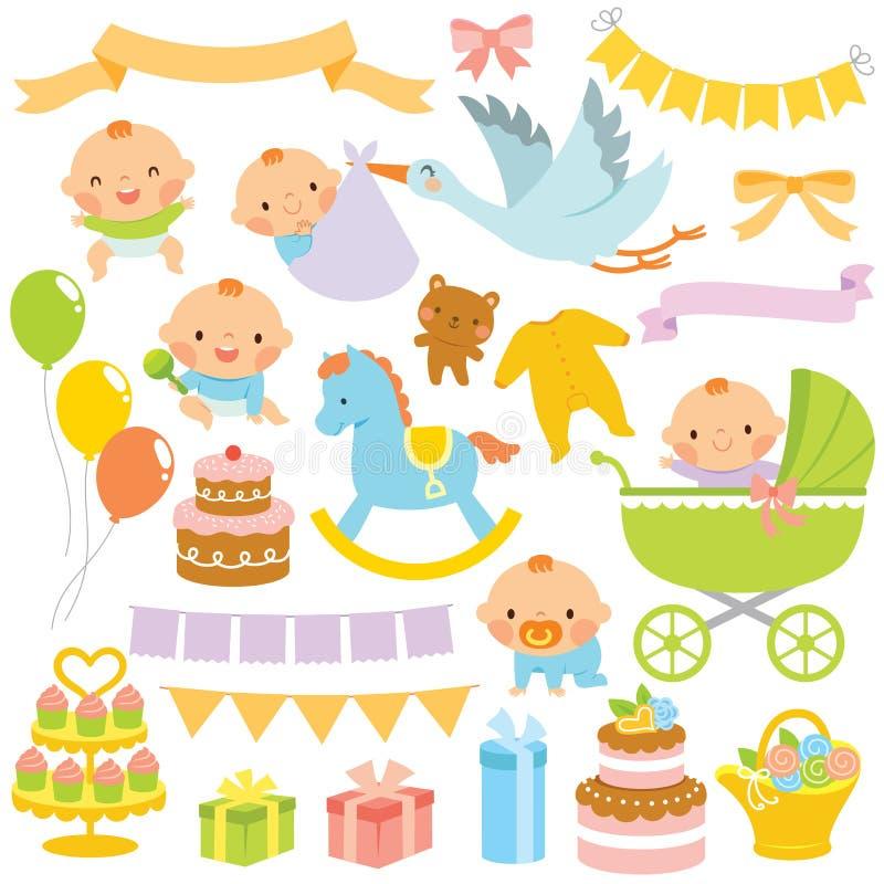 婴儿送礼会Clipart集合 向量例证