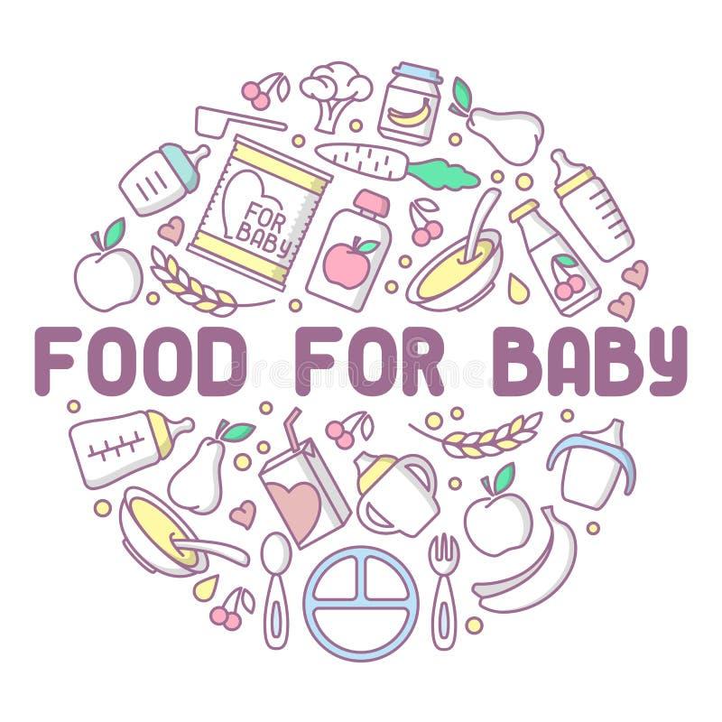 婴儿食品卡片 线性样式传染媒介例证 皇族释放例证