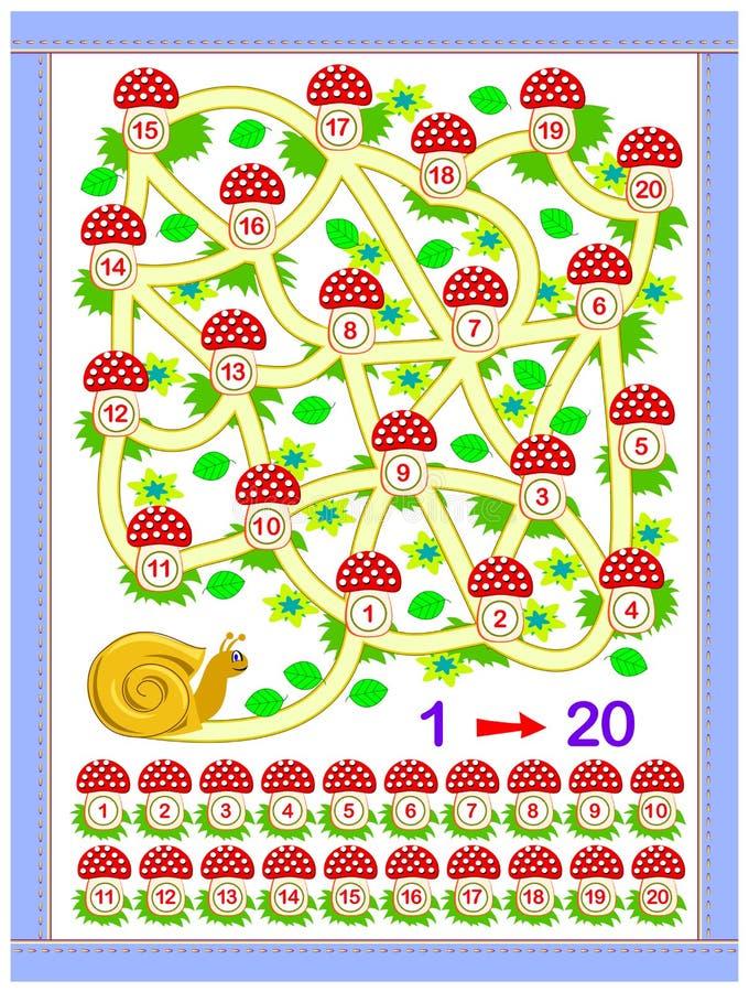 婴孩书的教育页 帮助蜗牛发现方式 一贯地画线在第1之间直到20 库存例证