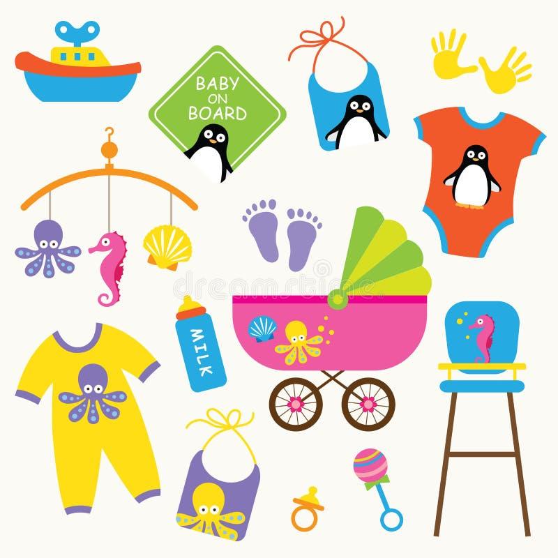 婴孩产品集 库存例证