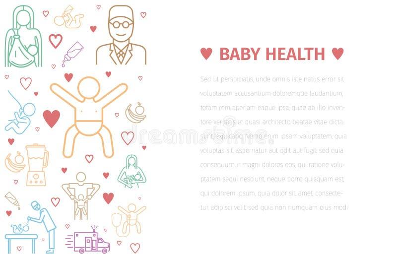 婴孩健康横幅 医学线象 传染媒介标志 库存例证