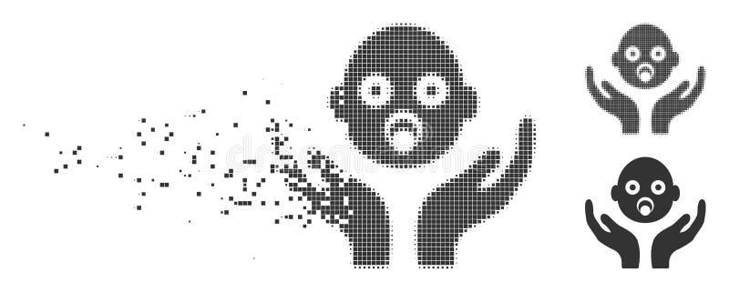 婴孩关心手溶化了映象点中间影调象 向量例证