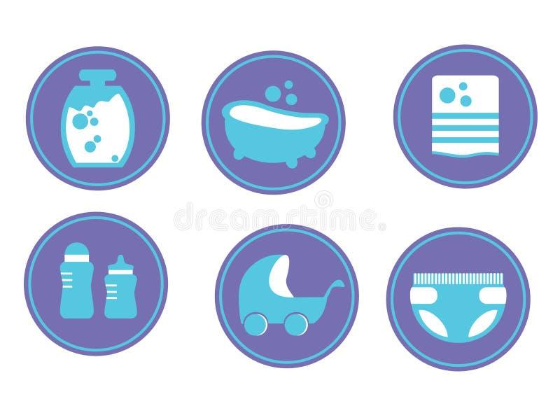 婴孩关心 婴孩沐浴 被设置的图标 在空白背景查出的向量例证 向量例证