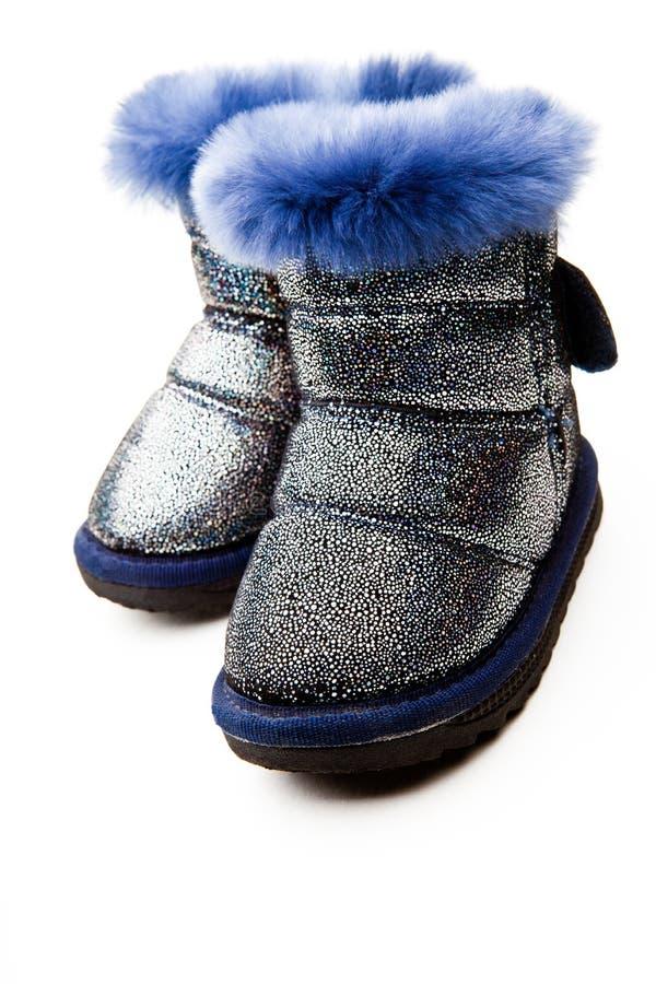婴孩冬天蓝色羊毛解雇演播室 库存图片