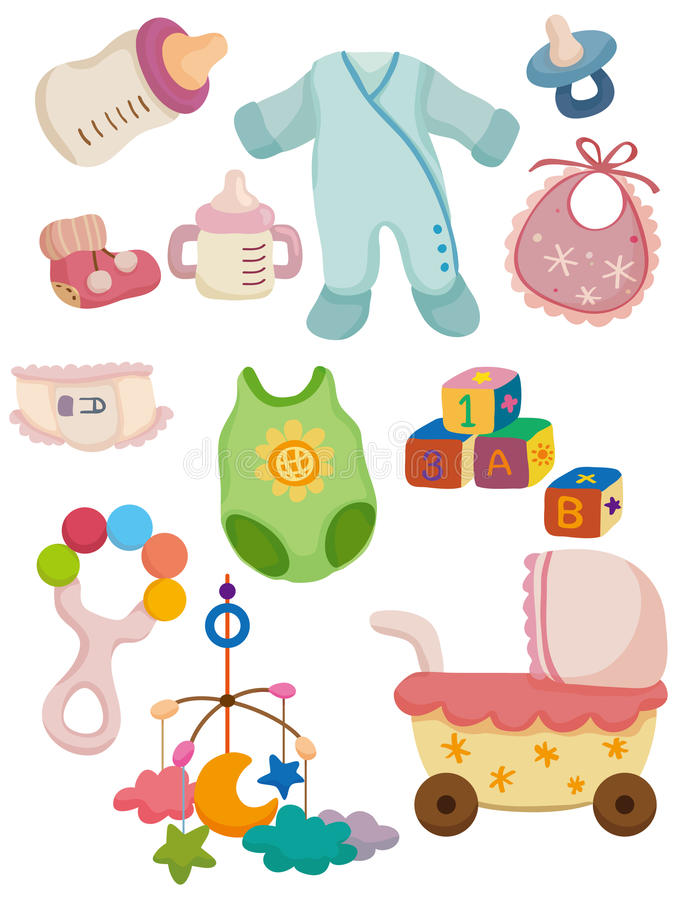 婴孩动画片图标东西 皇族释放例证