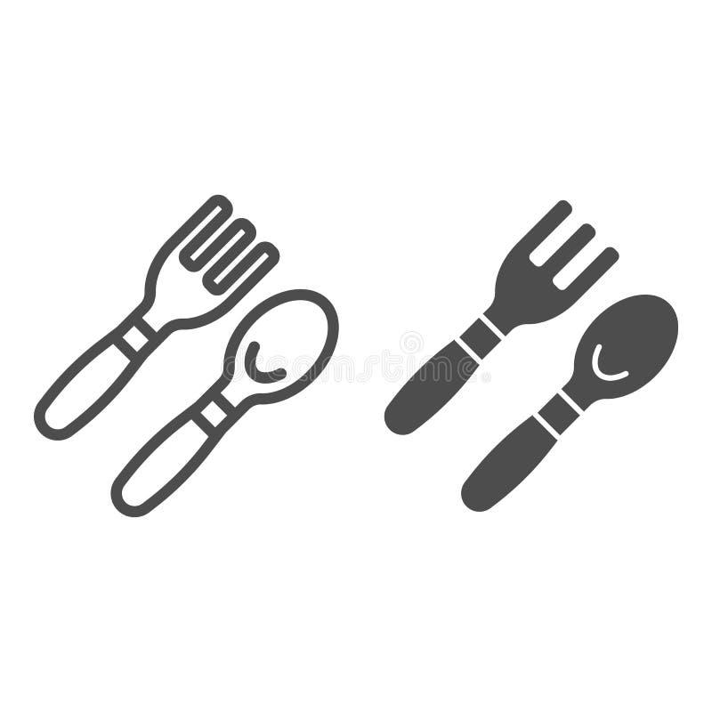婴孩匙子和叉子线和纵的沟纹象 利器在白色隔绝的传染媒介例证 用餐工具概述样式的婴孩 库存例证