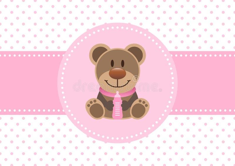 婴孩卡片女孩女用连杉衬裤和瓶小点背景桃红色 皇族释放例证