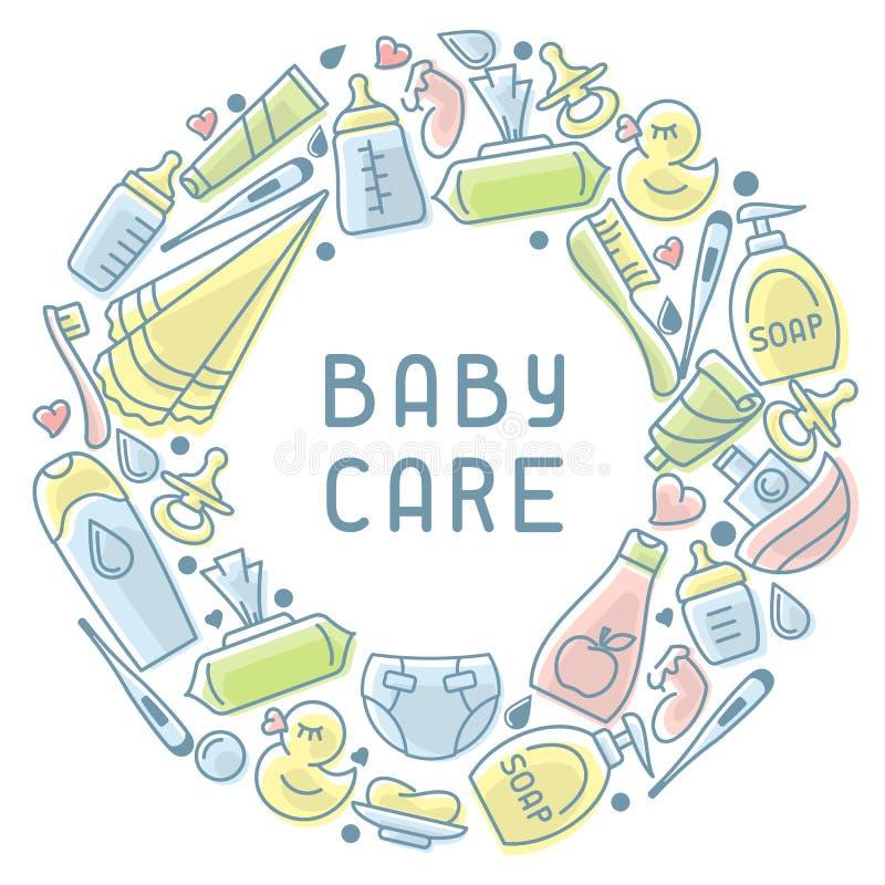 婴孩卫生学元素 皇族释放例证