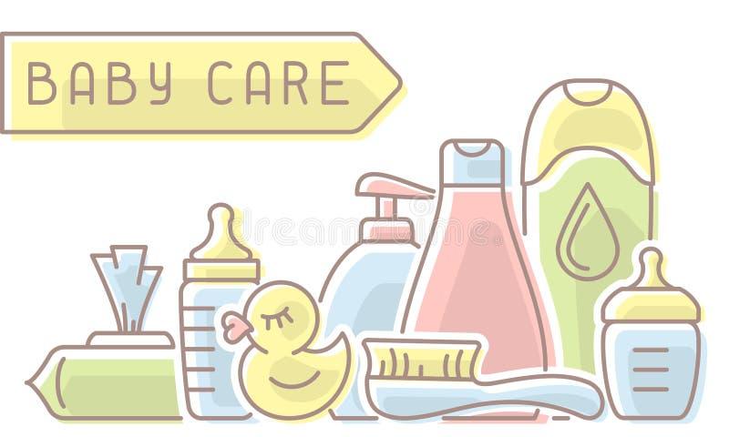 婴孩卫生学元素 库存例证