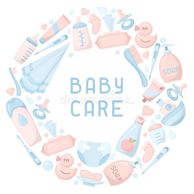 婴孩卫生学元素 向量例证