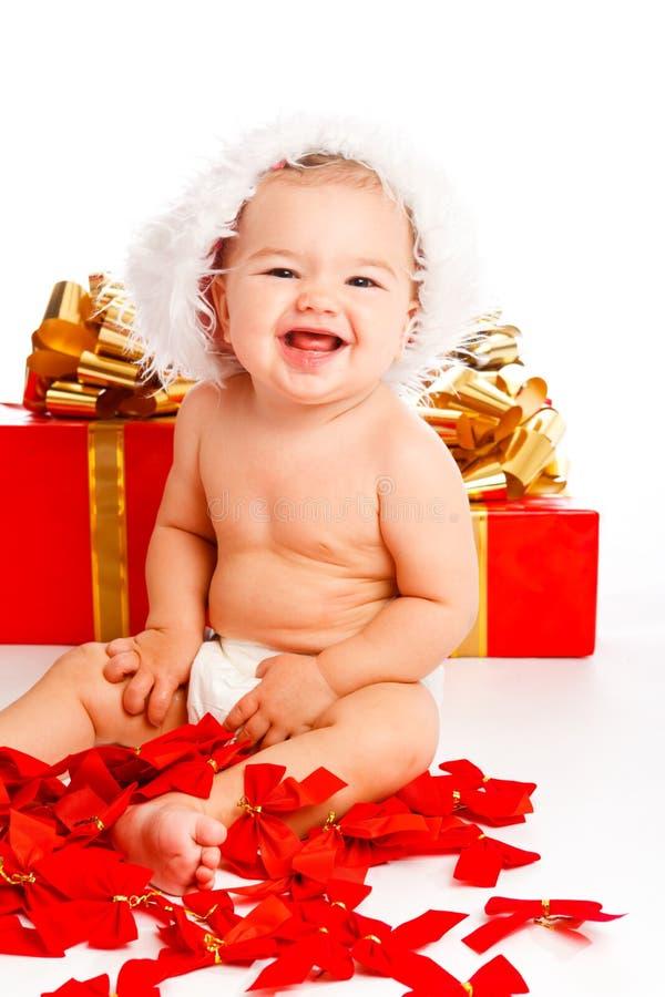 婴孩可爱的圣诞老人 库存图片