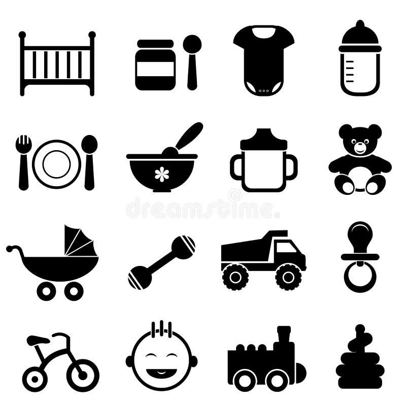 婴孩和新出生的图标集 库存例证