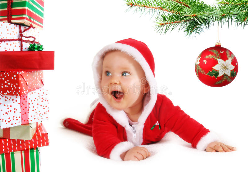 婴孩圣诞节礼品结构树unders 免版税图库摄影