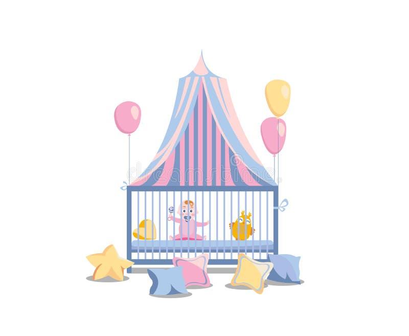 婴孩在一张床上在平纹机盖下 幼儿围栏的女孩,装饰用桃红色气球和五颜六色的枕头 ??s 向量例证