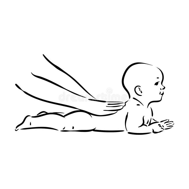 婴孩在白色背景的按摩过程的传染媒介手拉的例证 库存例证