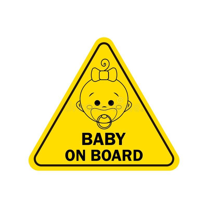 婴孩在船上有女孩标志的 更多我的投资组合符号签署警告 库存例证