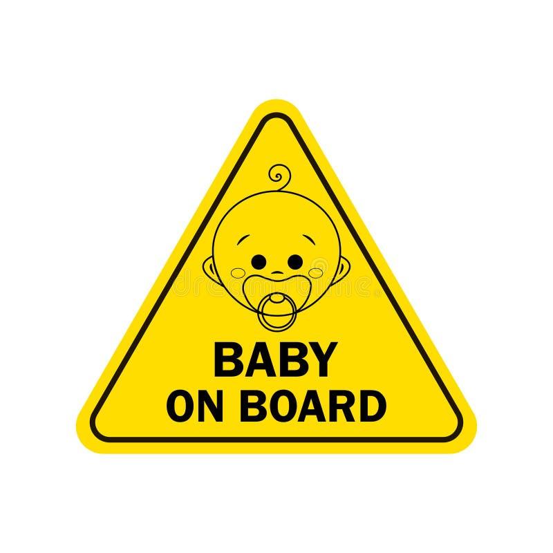 婴孩在船上有男孩标志的 更多我的投资组合符号签署警告 皇族释放例证