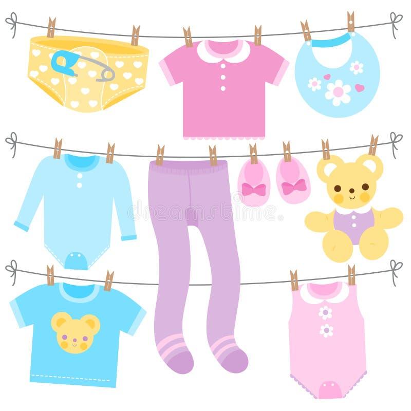 婴孩在蓝色,黄色,紫色和桃红色颜色穿衣 传染媒介汇集 向量例证
