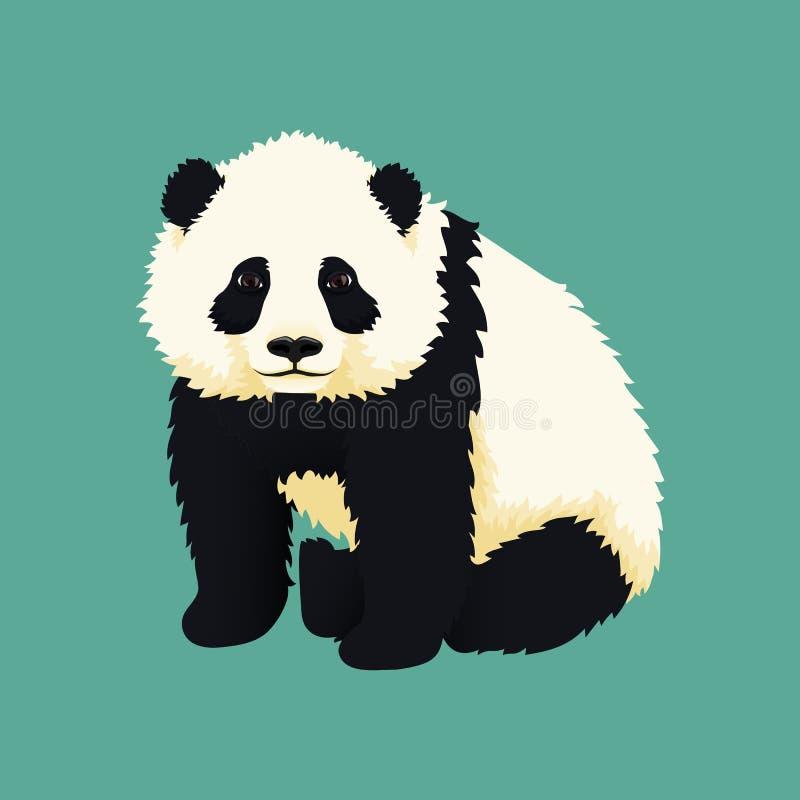 婴孩大熊猫开会 黑白中国小熊 皇族释放例证