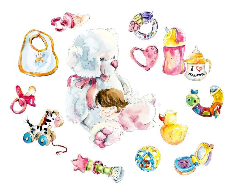 婴孩女孩在一个大极性玩具熊睡觉 水彩手拉的例证 库存例证
