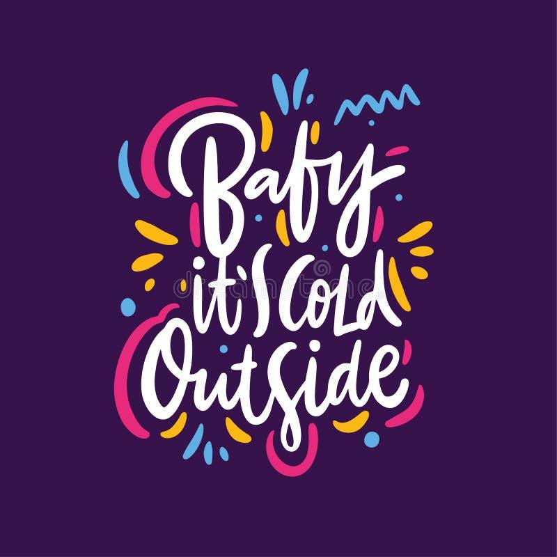 婴孩它冷的外部 r 隔绝在紫罗兰色背景 库存例证