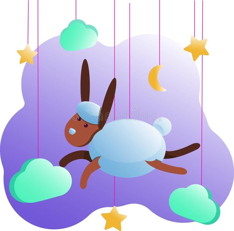 婴孩室的兔子公尺海报、贺卡、孩子和婴孩T恤杉和穿戴,托儿所例证 向量例证