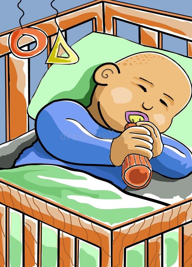 婴孩小儿床休眠 库存例证