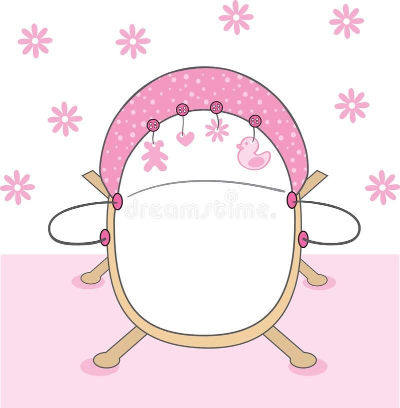 婴孩小儿床女孩粉红色 皇族释放例证