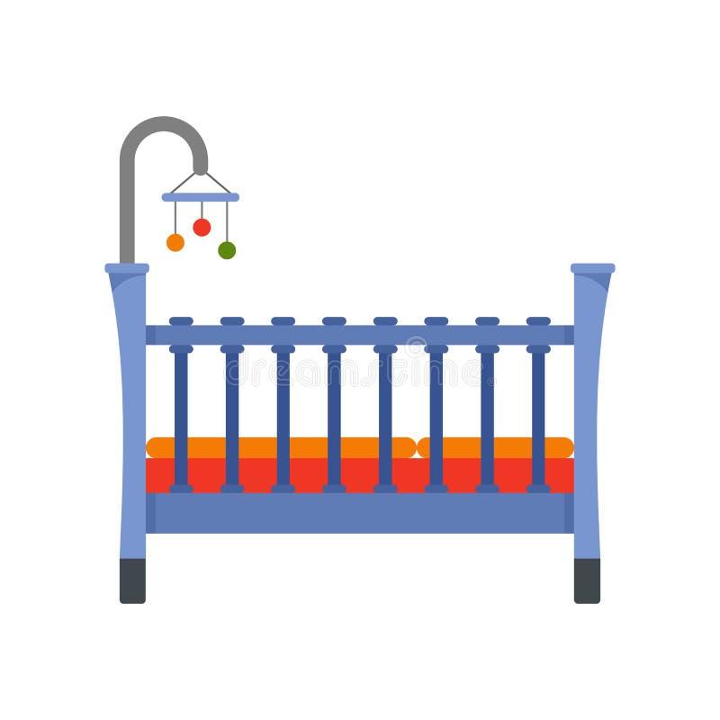婴孩小儿床象,平的样式 库存例证