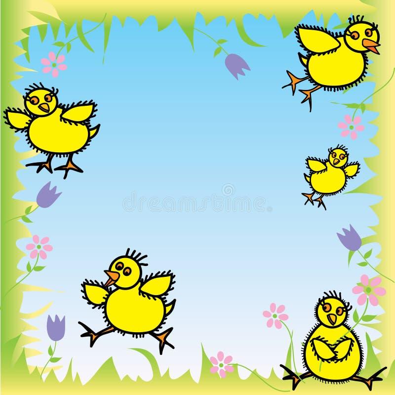 婴孩小鸡愉快的复活节准备 皇族释放例证