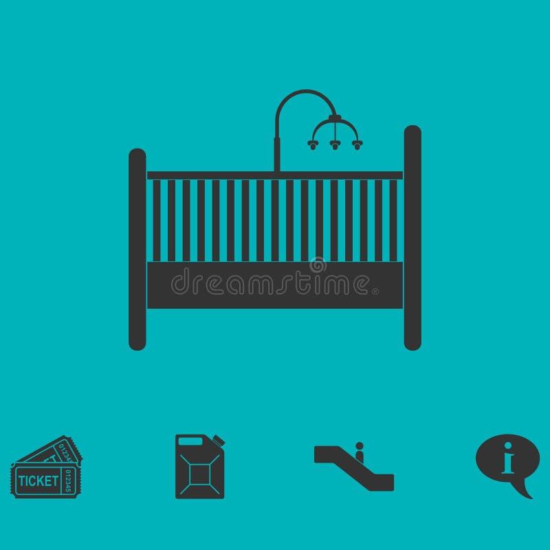 婴孩平展小儿床象 库存例证