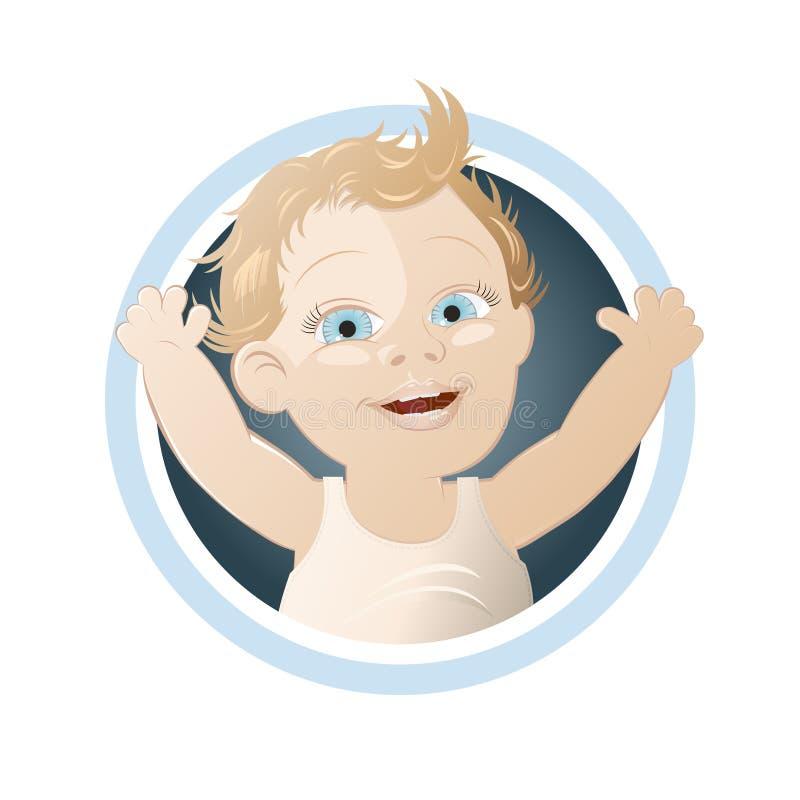 婴孩愉快按钮的动画片 库存例证