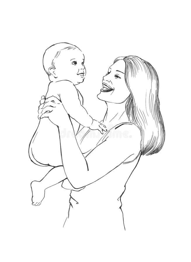 婴孩愉快的健康妈妈 皇族释放例证