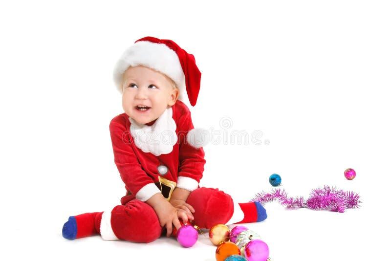 婴孩愉快的圣诞老人 免版税库存图片
