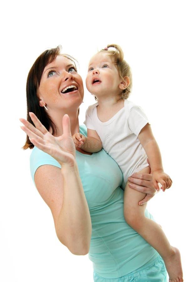 婴孩愉快的母亲照片 免版税库存照片