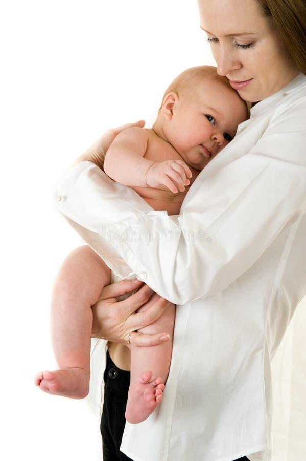 婴孩愉快的母亲 库存照片