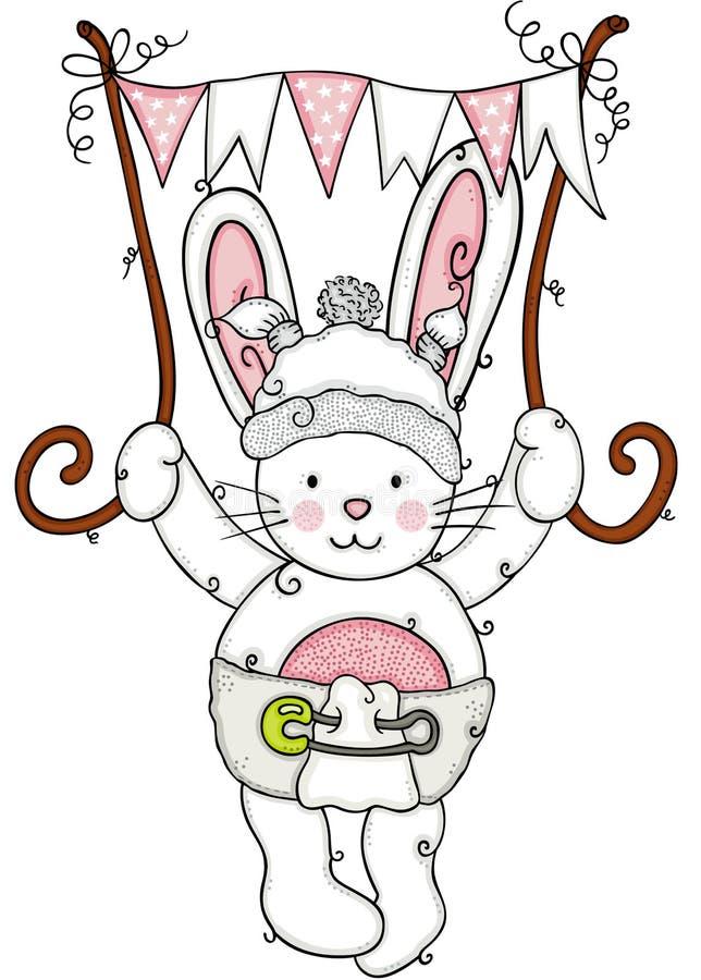 婴孩拿着一副桃红色旗子横幅的兔宝宝飞行 皇族释放例证