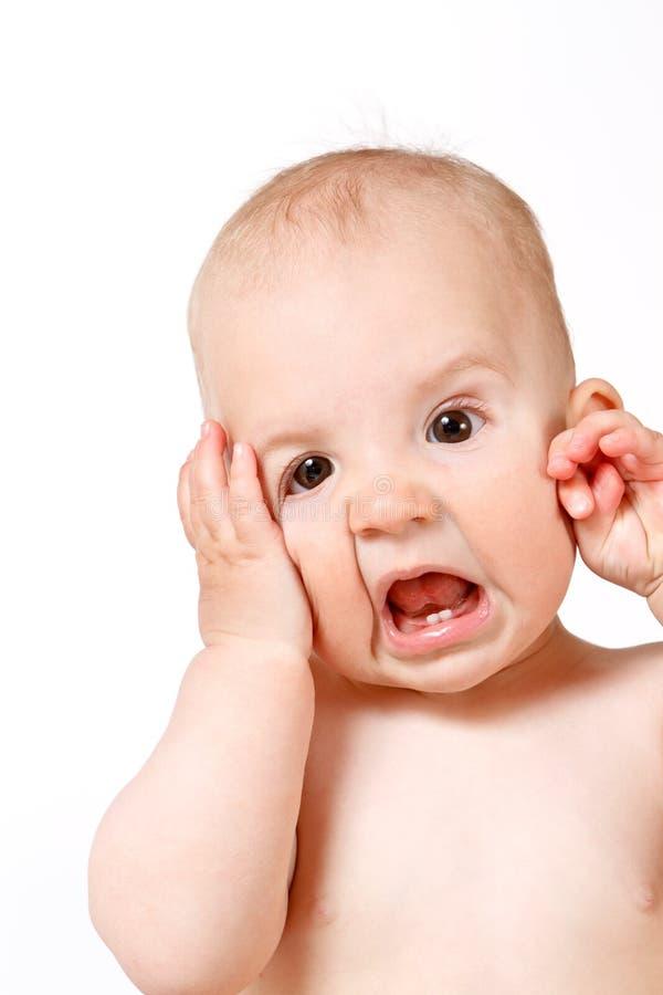 婴孩接近面朝上 免版税库存图片