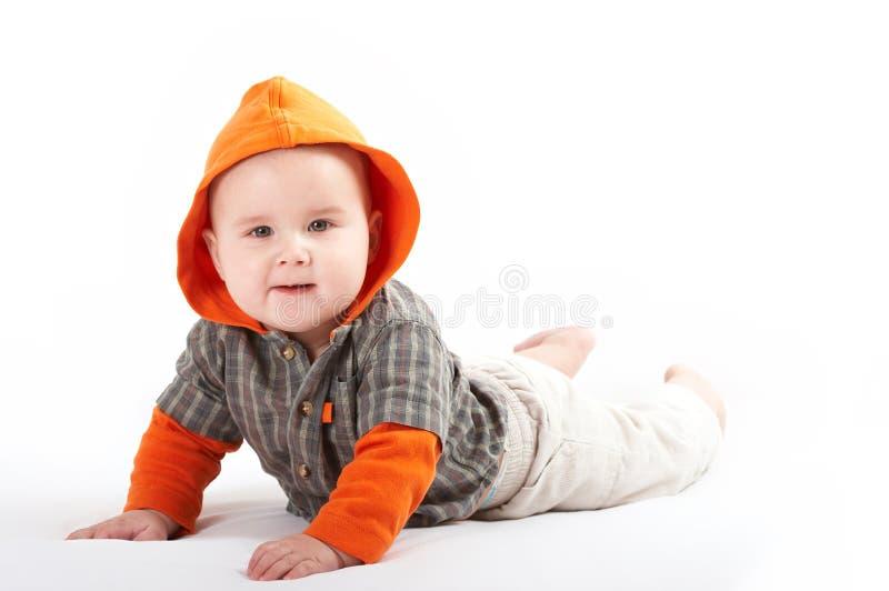 婴孩摆在小 免版税图库摄影