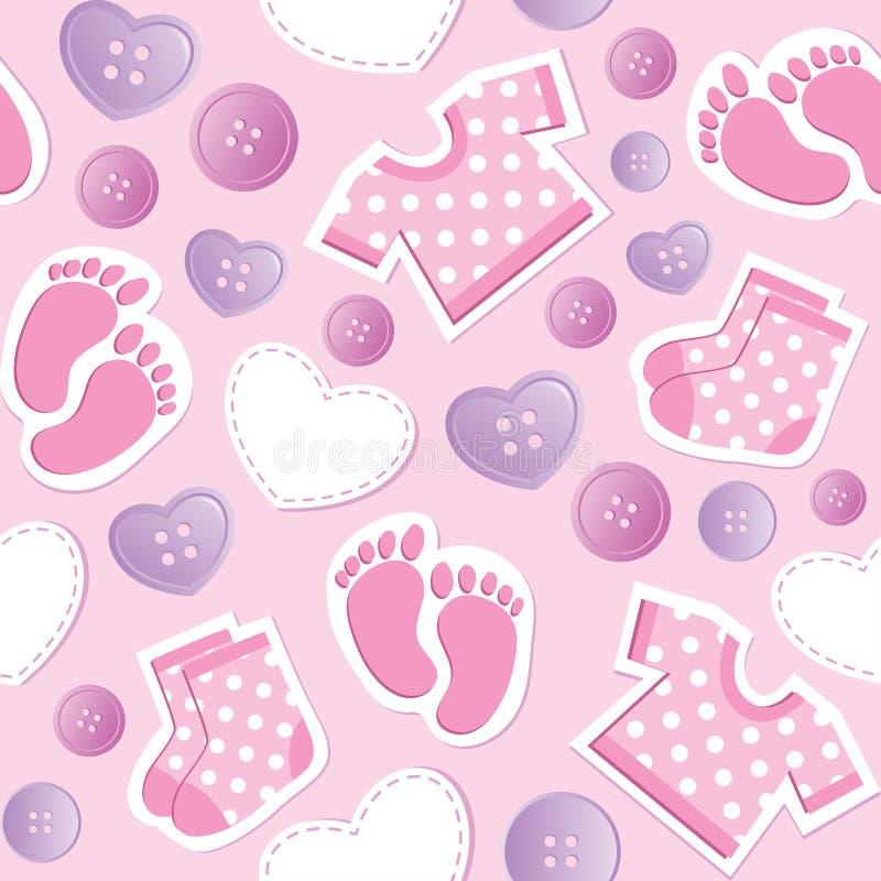 婴孩无缝模式的粉红色 库存例证