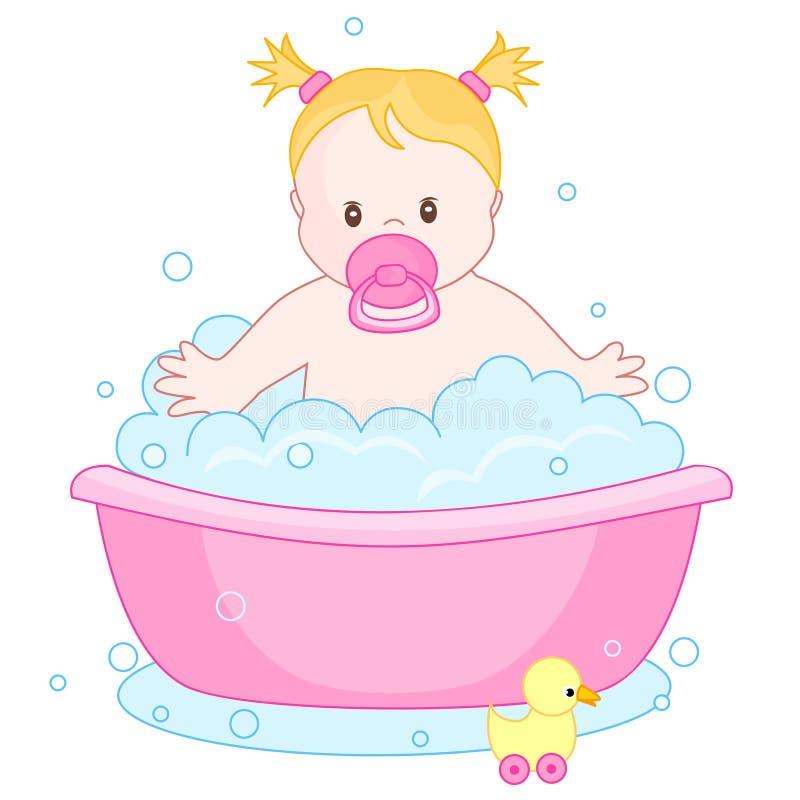 婴孩有浴的女孩 库存例证