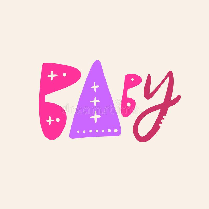 婴孩标志手拉的传染媒介字法 r 向量例证
